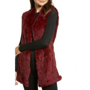 NWT Love Token Rabbit fur burgundy vest